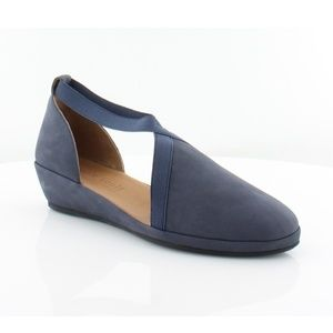 [Gentle Souls] Navy Strappy Leather Wedge Flats